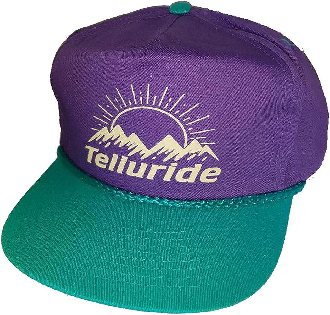 Purple Teal Ski Snowboard Boardwalk Hat Cap Vail Aspen Mammoth Telluride 80's (Telluride)