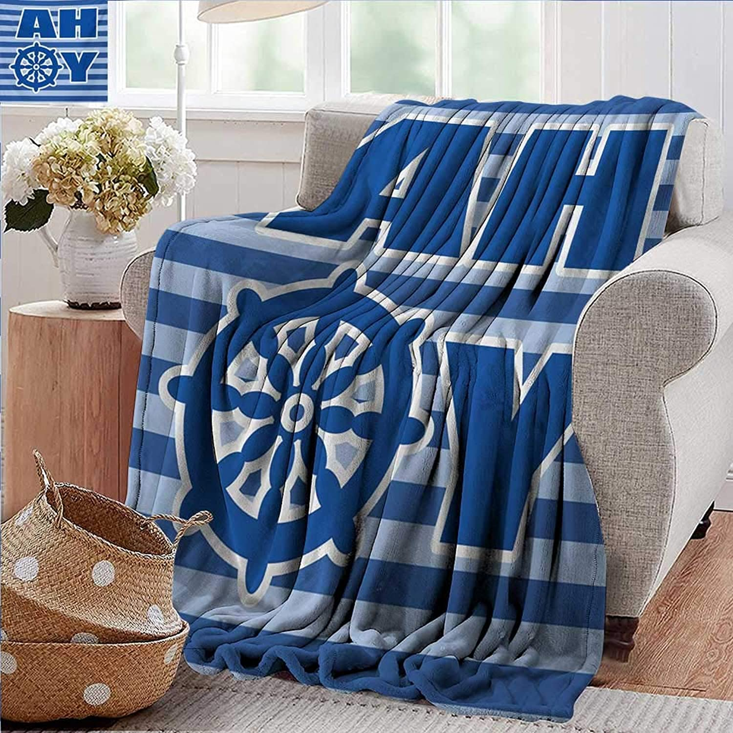 XavieraDoherty Outdoor Blanket,Ahoy Its a Boy,Ahoy Written with Nautical Wheel Striped Nursery Wall Art Design,bluee Pale bluee White,300GSM,Super Soft and Warm,Durable Throw Blanket 35 x60