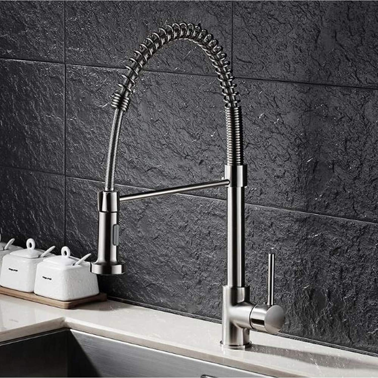 YHSGY Kitchen Taps New Kitchen Faucet Brushed Nickel Faucet Pull Out Torneira All Around redate Swivel 2-Function Water Outlet Mixer Tap