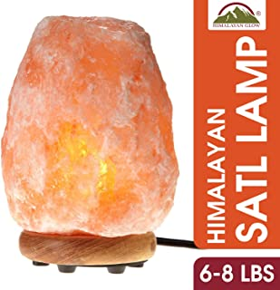 Himalayan Glow Natural Pink Salt Lamp, Crystal Salt Lamp Night Light with (ETL Certified) Brightness Control Dimmer Switch, Wooden Base & Salt Lamps Bulb | 6-8 LBS