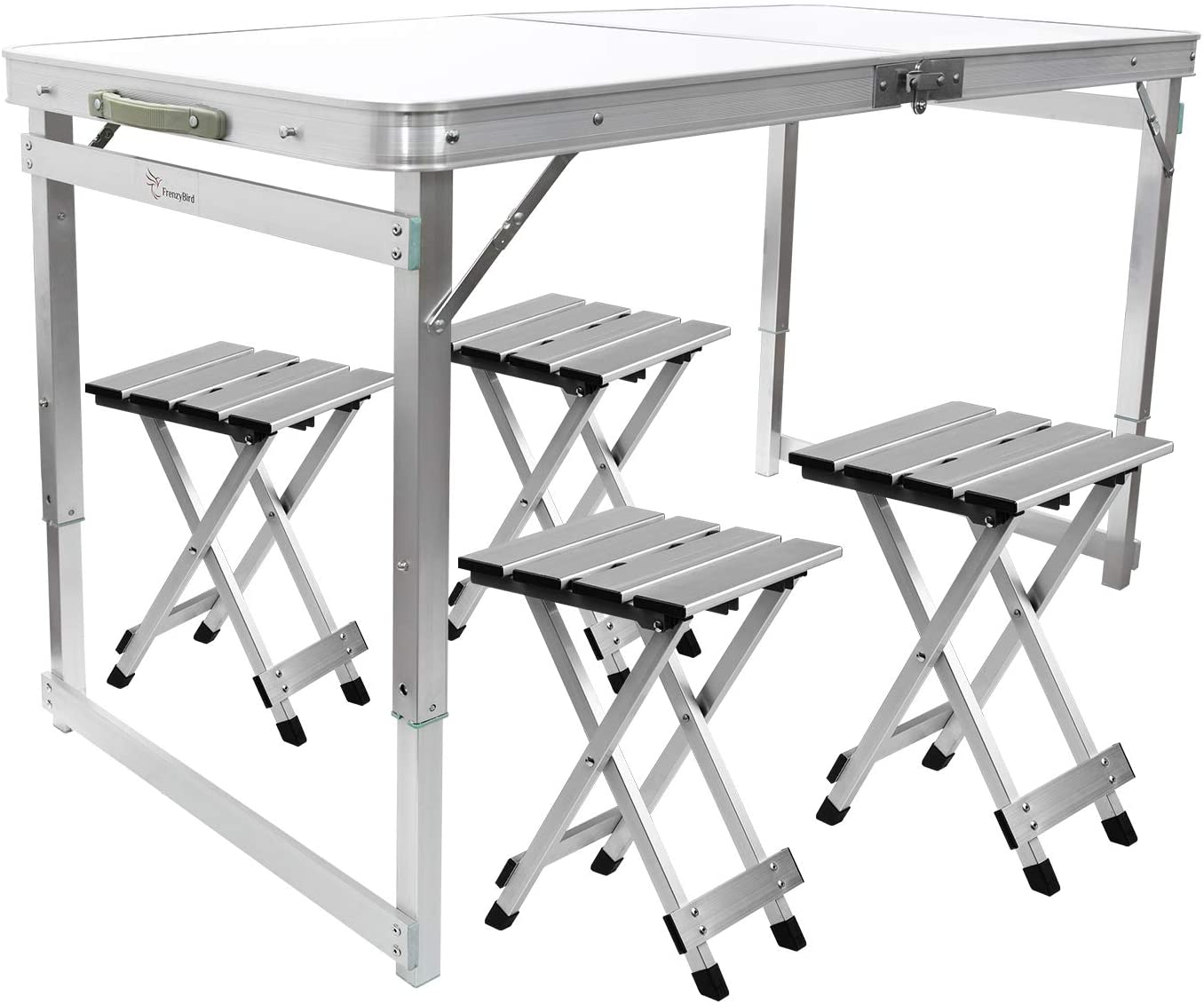 Buy Frenzybird Folding Picnic Table With 4 Stools Aluminum Table Chair Set For Up To 4 Persons Portable Lightweight And Heights Adjustable For Outdoor Camping Dining Bbq Party Online In Turkey B07c89nx2j
