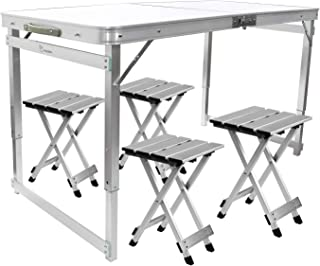 FrenzyBird 4-Person Folding Picnic Table with 4 Aluminum Chairs, Height Adjustable,Portable and Lightweight,for Outdoor,Camping,Picnic,BBQ,Party and Dining …