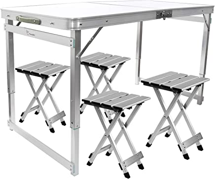 FrenzyBird 4-Person Folding Picnic Table with 4 Aluminum Chairs, Height Adjustable,Portable and Lightweight,for Outdoor,Camping,Picnic,BBQ,Party and Dining