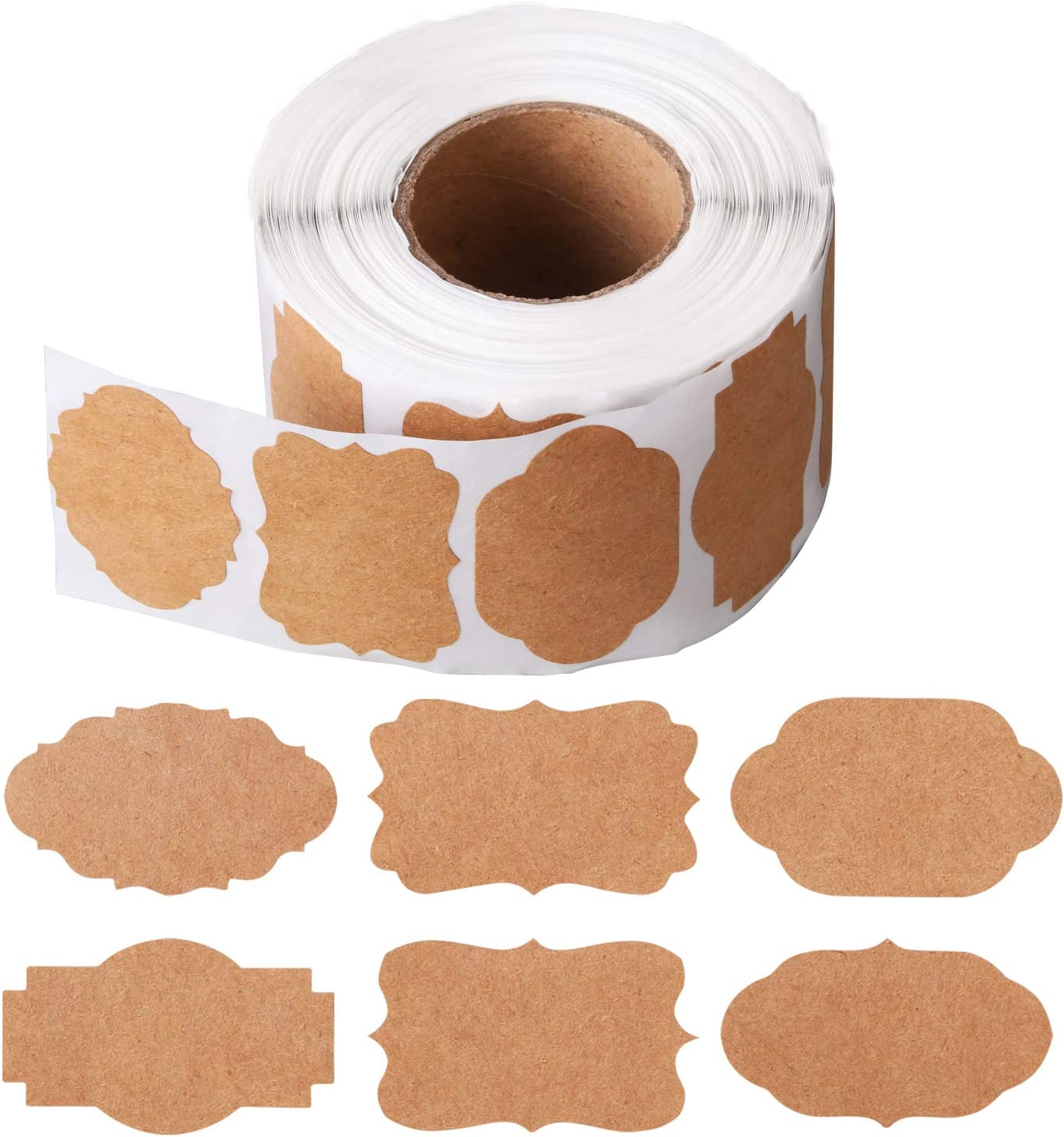 800 Pieces Kraft Stickers Labels Natural Brown Labels Christmas Gift Tags Labels Stickers Blank Write On Labels Holiday Present Label for Gifts Glass Bottles,1 Roll, 6 Styles 1.2 x 2 Inches