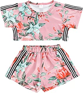 SUPEYA Baby Girls Floral Outfits Short Sleeve Stripes T-Shirt+Short Pants Casual Sets