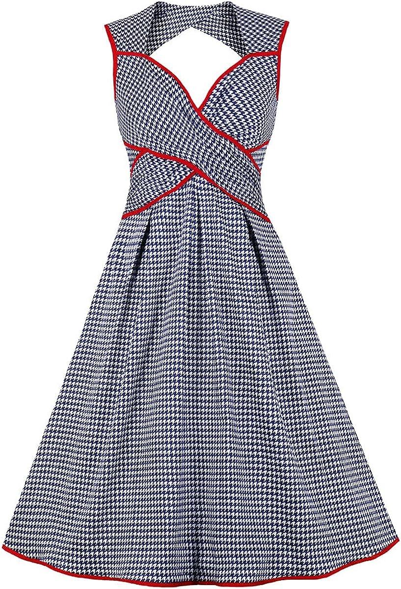 Wellwits Women's Cutout Back Wrap Tie Vintage Cocktail Dress