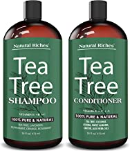 Natural Riches Tea Tree Shampoo and Conditioner Set with 100% Pure Tea Tree Oil, Anti Dandruff for Itchy Dry Scalp, Sulfate Free, Paraben Free - for Men and Women - 2 bottles 16fl oz each