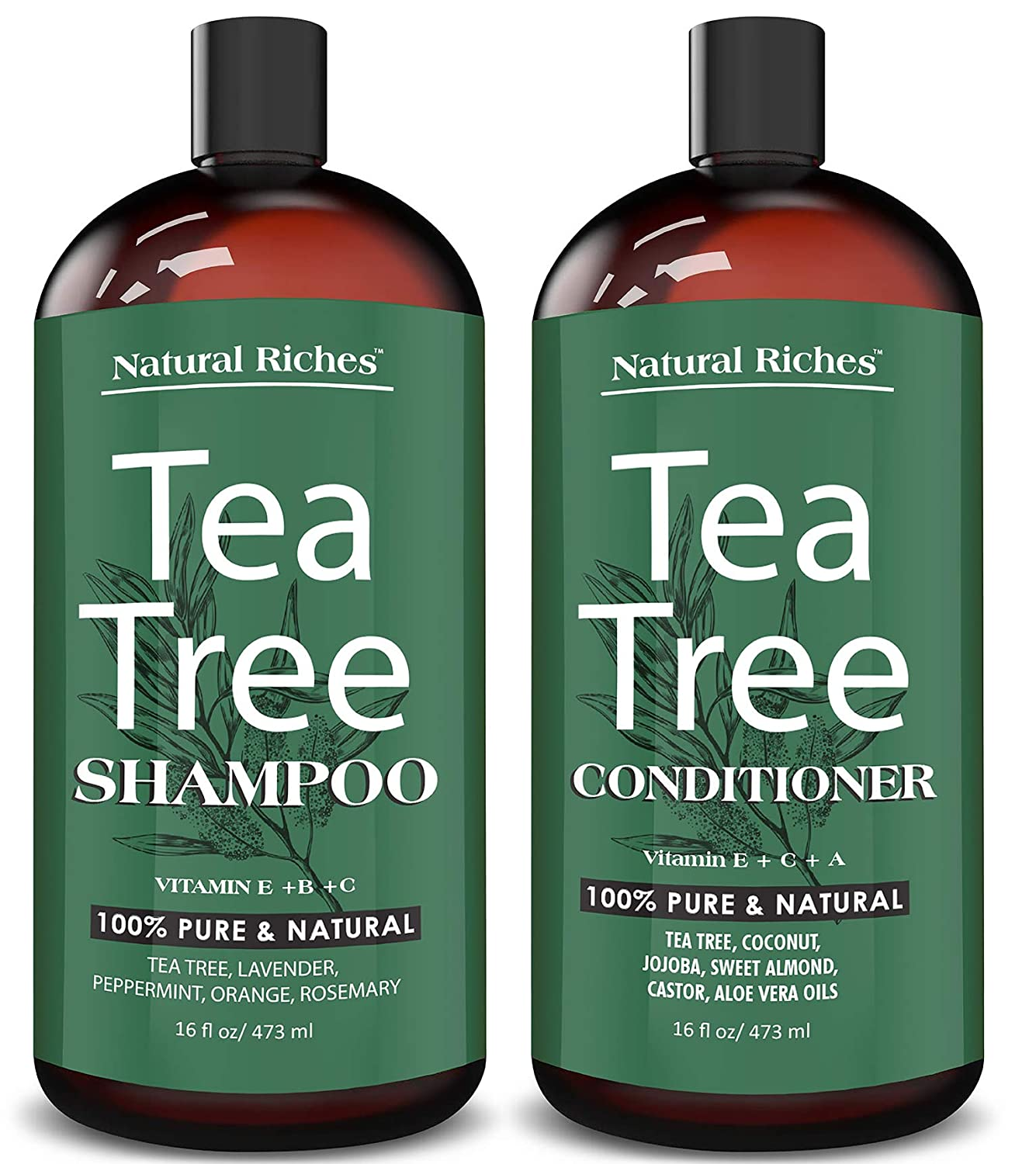 Natural Riches Tea Tree Shampoo and with Pure Conditioner Safety trust Te Direct sale of manufacturer Set