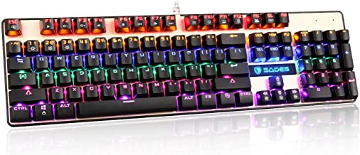 SADES K10 LED Backlit Wired USB Mechanical Gaming Keyboard with Blue Switches (Black+Gold)