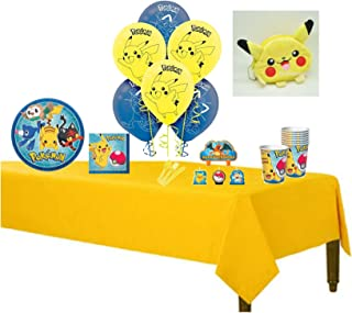 """Pokemon Pikachu & Friends Complete Birthday Party for 8 includes 9"""" Dinner Plates, Napkins, Cups, Balloons, Tablecover, Cake Deco & Cutlery with BONUS Souvenir Pikachu Plush Coin Holder Bag"""