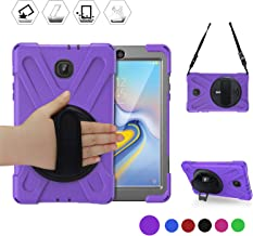 Samsung Tab A 8.0 2018 Tablet Case,SM-T387V Case, BRAECN [Rotatable Kickstand/Handle+Attachable Shoulder Strap] Heavy Duty Full-Body Dropproof Silicone Case Cover for Galaxy Tab A 8 Inch T387 (PURPLE)