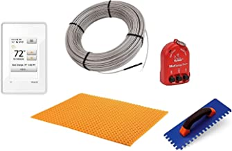 Schluter Ditra Performance Floor Heating Kit -75 Square Feet- Includes WiFi Touchscreen Programmable Thermostat, Heat Membrane, Heat Cable DHEHK24075, Safe Installation Tools