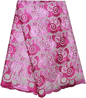 SanVera17 Manual Beading Glitter Stone African Lace Net Fabrics Nigerian Saree Fabric Embroidered and Guipure Cord Lace for Party Wedding (Pink) 5 Yards