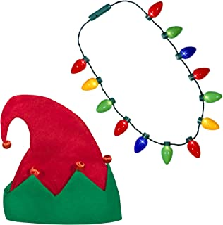 Windy City Novelties Ugly Sweater Christmas Party Kit, Holiday LED Elf Hat, LED Christmas Bulb Necklace Combo