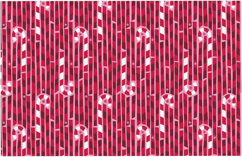 KESS InHouse AB1011ADM02 Allison Beilke Candy Cane Lane Pink Red Dog Place Mat, 24 x15