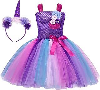 ملابس AmzBarley للفتيات الصغار للمناسبات الخاصة هالوين عيد الميلاد أزياء تنكرية مع غطاء رأس وحيد القرن الأرجواني العمر 4-5...