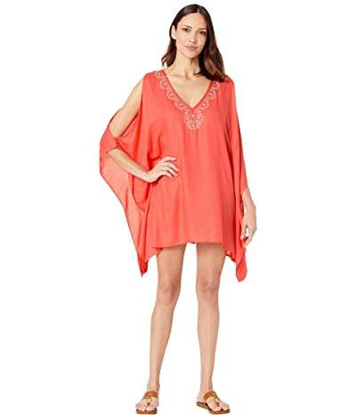 Lucky Brand La Quinta Tunic Swing Dress Cover-Up (Hot Coral) Women