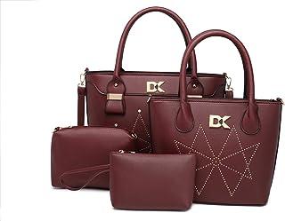 Diana Korr Women's Shoulder Bag with Handbag (Maroon) (Set of 4)
