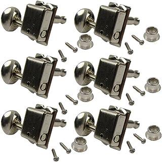 IKN 1 Juego de 6 clavijas de afinación de guitarra con cabeza de máquina para estilo vintage Strat, níquel