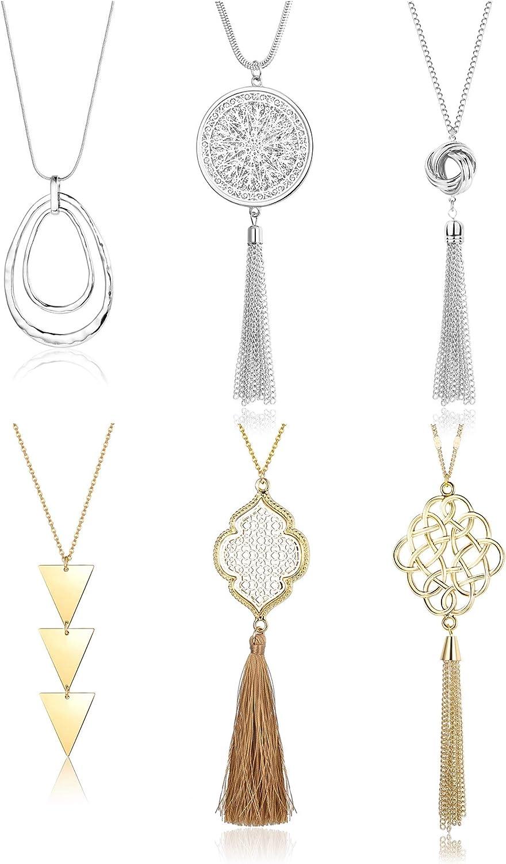 Finally popular brand FINREZIO 6PCS Long Pendant Necklace Set Y Tassel Circle Knot Str Same day shipping