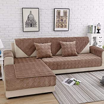 Amazon.com: Deep Dream Sectional Sofa Covers, Velvet Sofa Slipcover Furniture Protector Anti-Slip Couch Covers For Dogs Cats Kids Christmas 36 X 47 Inch - Light Coffee (Sold By Piece/Not All Set): Kitchen