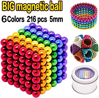 YYage 6 Colors 5MM 216 Pieces Magnets Cube Building Blocks Magnetic Toys Colorful Buildable Sculpture Office Stress Relief Toys for Adults