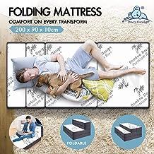 STARRY EUCALYPT Folding Mattress Bamboo Foldable Sofa Lounge Portable King Single 2B2S Grey & Bamboo White