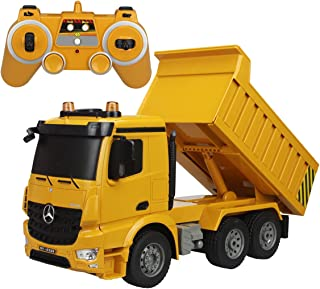 fisca Remote Control Truck 1/20 Scale 6 Channel 2.4Ghz RC Dump Truck Authorized by Mercedes-Benz Construction Vehicle Toy Machine Model with LED Lights and Simulation Sound for Kids