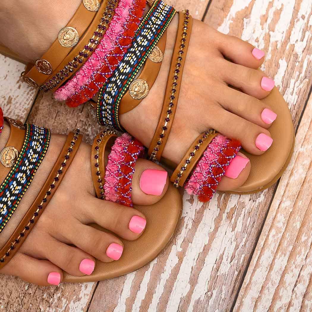 Wodega 100% quality warranty! Glossy Press on Toenails Pink Acrylic Nails Los Angeles Mall Fake Shor Toe