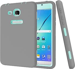 BAUBEY Case for Samsung Tab A6 7.0 2016 SM-T280 T285, Hybrid Heavy Duty Shockproof Impact Resist Hard Rubber Protective Case Cover for Samsung Galaxy Tab A6 7.0 2016 SM-T280 SM-T285 (Grey / Aqua)