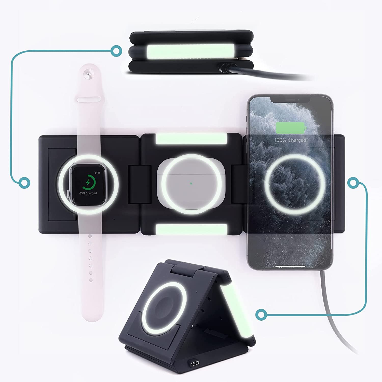 Unravel 3-in-1 Foldable Travel Wireless iPhone It is very popular Charger 10W trend rank for