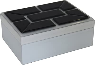 Sagebrook Home, White Decorative Wood & Glass Storage Box, 10 x 7.5 x 4 Inches
