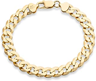 18K Gold Over Sterling Silver Italian Solid 9mm Diamond-Cut Cuban Link Curb Chain Bracelet for Men 7.5, 8, 8.5, 9 Inch, 925 Made in Italy