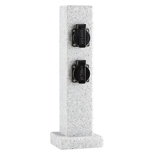 gris Waldbeck Granite Power Multiprise de jardin colonne 4 prises IP44, 3500 W, aspect pierre, socle avec per/çages pour vissage au sol
