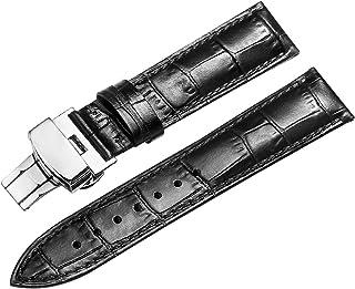 男性と女性のための展開バックル交換用革の時計バンド18ミリメートル黒の時計ストラップ