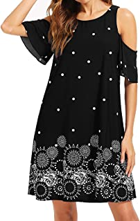 Women's Short Sleeve Cold Shoulder Floral Print Casual Loose Tunic Dress