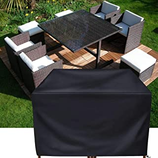 Patio Furniture Cover Set,Square Rattan Wicker Table Chair Set Cover Rectangular Outdoor Sectional Sofa Set Covers, Water Resistant Large Garden Furniture Set Care 47