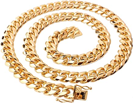 Epinki Stainless Steel Chain Necklace for Men Gold Curb Chain for Men Necklace