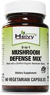 Heivy Mushroom Defense Mix, Made with a Certified Organic Mushroom Matrix -- Boost Immune System -- 60 Veg Caps