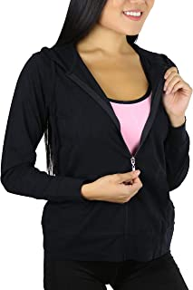 Women's Thin Fabric Long Sleeve Kangaroo Pocket Zip up Hoodie