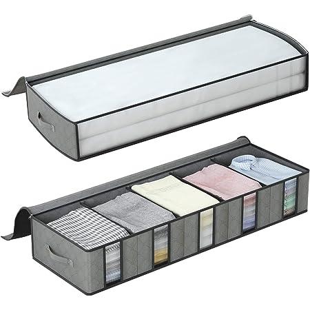 DIMJ Lot de 2 Sac de Rangement sous le lit avec Compartiment de Rangement pour Vêtements en Carton avec Fenêtre Transparente, Pliable avec pour Vêtements, Couverture, Couettes