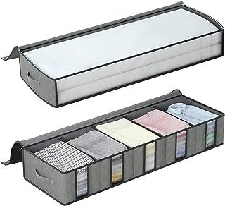 DIMJ Lot de 2 Sac de Rangement sous le lit avec Compartiment de Rangement pour Vêtements en Carton avec Fenêtre Transparen...
