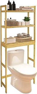 SMIBUY Salle de Bains étagère de Rangement, Bamboo Over-The-Toilet Organisateur Rack, Toilettes autoportant Space Saver av...