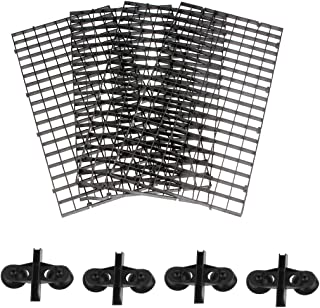 Senzeal 4PCS Grid Divider Tray Egg Crate Aquarium Fish Tank Bottom Isolation Board with Sucker Clips