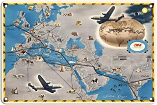 Pacifica Island Art Europe, Africa, Asia Air Routes Map - TWA (Trans World Airlines) - Vintage Airline Travel Poster c.1948-8in x 12in Vintage Tin Sign
