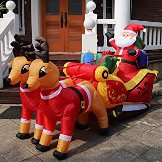 VIVOHOME 7.2ft Long Christmas Inflatable LED Lighted Santa on Sleigh with Reindeers and Gift Boxes Blow up Outdoor Yard Decoration
