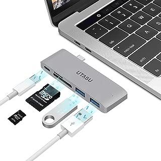 UTASU USB Type C ハブ 5in1 USB C ハブ HUB ウルトラスリム ドッキングステーション PD充電 USB 3.0ポート*2 SD/Micro SD カードリーダー マイクロ タイプC 変換アダプター MacBook Pro/ChromeBook/Microsoft Surface Go対応 (グレー)