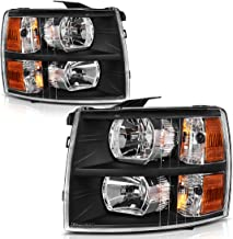 AUTOSAVER88 Headlight Assembly Compatible with 2007-2013 Chevy Silverado 1500/2007-2014 Silverado 2500HD 3500HD Replacement Headlamp, Black Housing Amber Reflector Clear Lens
