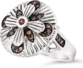 .925 Sterling Silver Brown Zircon and Brown Diamond Art Deco Flower Ring For Women 1/4 Carats