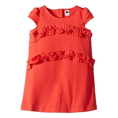 Janie and Jack Short Sleeve Ruffle Dress (Toddler/Little Kids/Big Kids) (Coral) Girl